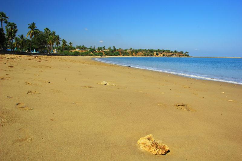 Pasir Pantai Lasiana berwarna kecoklat-coklatan
